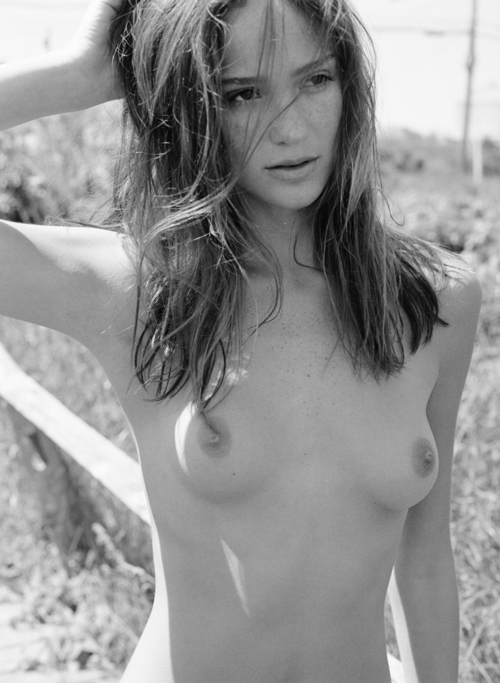 Black and whit picture of topless girl