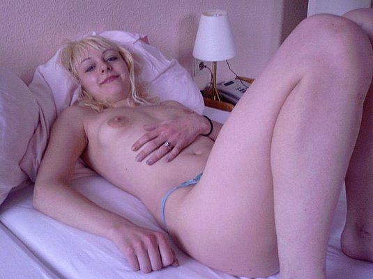 Blonde pale skin girlfriend posing topless