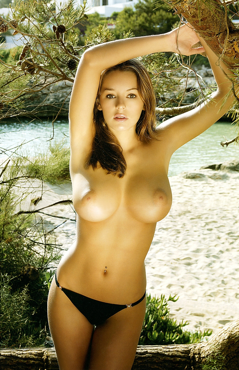 Busty brunette posing topless on the beach