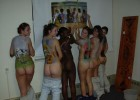 Many hot naked teens body painted
