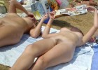 Nudist babes exposing their hairy muffs in nature