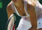 Sexy tennis babe exposing her cleavage