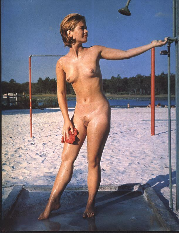 Hot cute babe on old nudist days