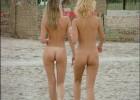 Nude cute chicks on a soft walk